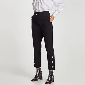 Zara High Waist Black Tencel Pant NWT Size Small